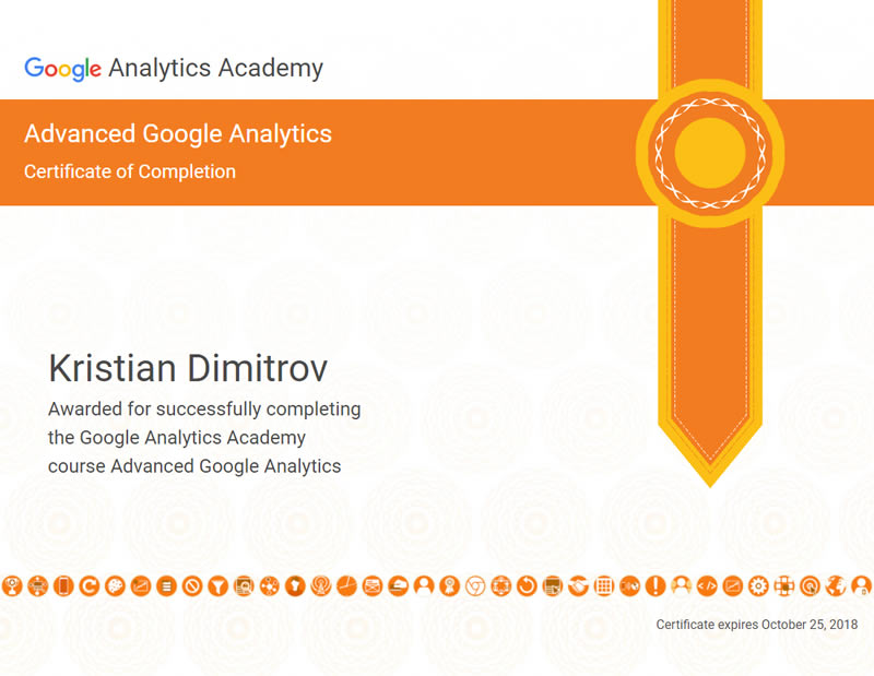 Certificate Advanced Google Analytics - Kristian Dimitrov