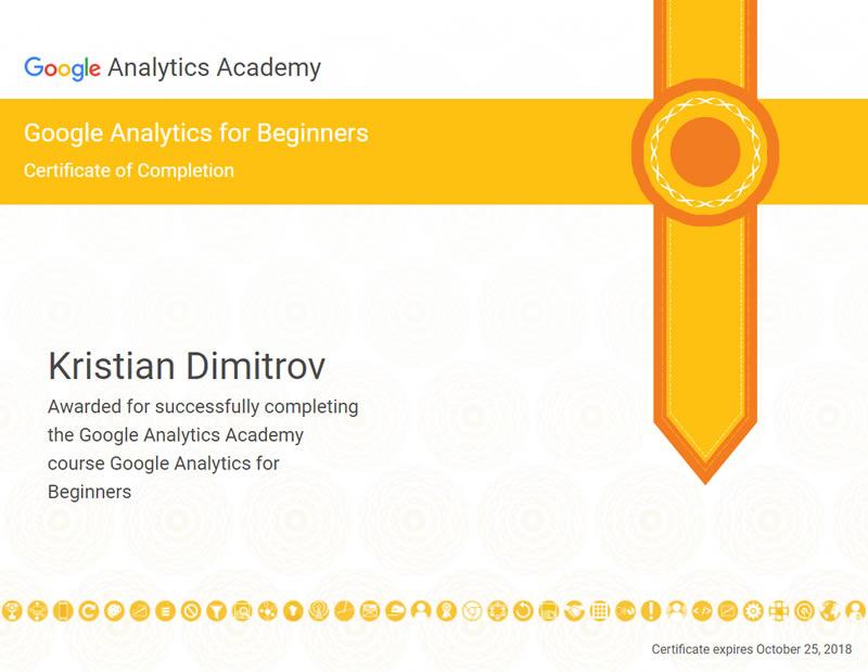 Certificate Google Analytics - Kristian Dimitrov