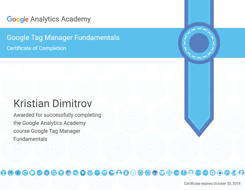 Certificate Google Tag Manager - Kristian Dimitrov
